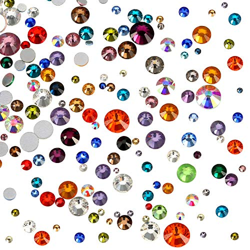 WILLBOND 1000 Pieces Flat Back Artificial Gems Flatback Rhinestones Round Glass Crystals 7 Mixed Sizes 1.5-6 mm for Nail Art Phone Craft DIY (Multicolor)