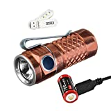 Klarus Mi1C 600 Lumens CREE XP-L HI V3 LED Side Switch EDC Flashlight 16340 Mini Bright Flashlight, with 1x16340 Battery,Charging Cable,O-ring and SKYBEN USB Light (Copper)