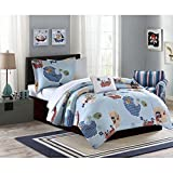 8 Piece Kids Full Pirate Themed Bedding Set, Cute Boys Pirates Comforter, Featuring Pirates, Islands, Pirate Ships, Treasure, Boats, Unisex, Blue + Decorative Pillow, Bed in a Bag, Pirates Sheet Sets
