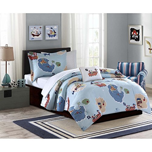6 Piece Kids Twin Pirate Themed Bedding Set, Cute Boys Pirates Comforter, Featuring Pirates, Islands, Pirate Ships, Treasure, Boats, Unisex, Blue + Decorative Pillow, Bed in a Bag, Pirates Sheet Sets