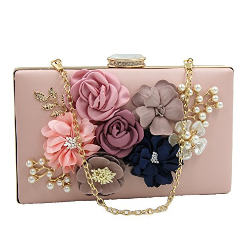 Dasior Party Flower Handbag Pearls Satin White Beaded Evening Case Women's Clutch xAqfgxwH