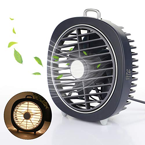 MANLI USB Desk Fan Mini Portable USB Fan with 3 Speeds Strong Airflow and Night Light,Ultra Quiet Portable Personal USB Powered Fan for Office,Home,Travel