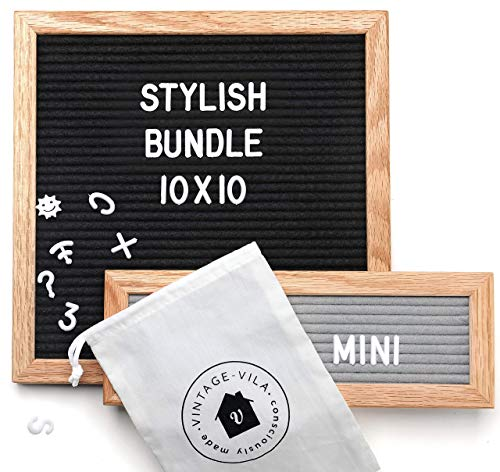 Black Felt Letter Board 10x10 inches with Mini Gray Felt Letterboard - Changeable Message Boards Include 346 White Plastic Letters, Wooden Oak Frame, Storage Canvas Bag & Gift Box