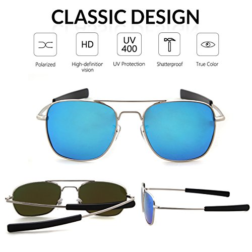 UV400 Polarized Men Sports Lens Sunglasses ADEWU Goggles Frame Silver Protection for Outdoor 100 Blue tzdYxq