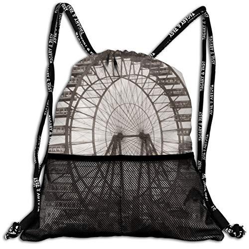 (Chicago Ferris Wheel Unisex Large Sport Sack Drawstring Backpack Waterproof Stadium Shoulder Bags Home Travel School Storage)