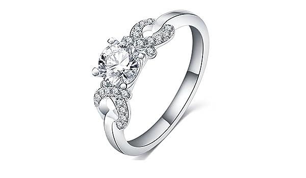 fendina para mujer joyería brillante 18 K chapado en oro blanco infinity love solitario Cubic Zirconia promesa Eternity anillo de compromiso, boda, ...