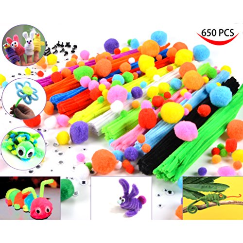 Joyin 650 pcs Craft Pipe Cleaners Chenille Stems Bundle including 300 Pipe Cleaners, 200 Pom Poms, 100 Wiggle Eyes and More