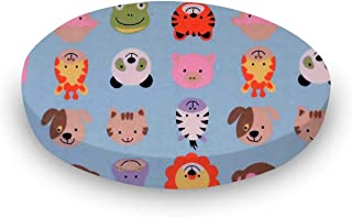 product image for SheetWorld 100% Cotton Flannel Round Crib Sheet, Animal Faces Blue, 42 x 42, Made in USA