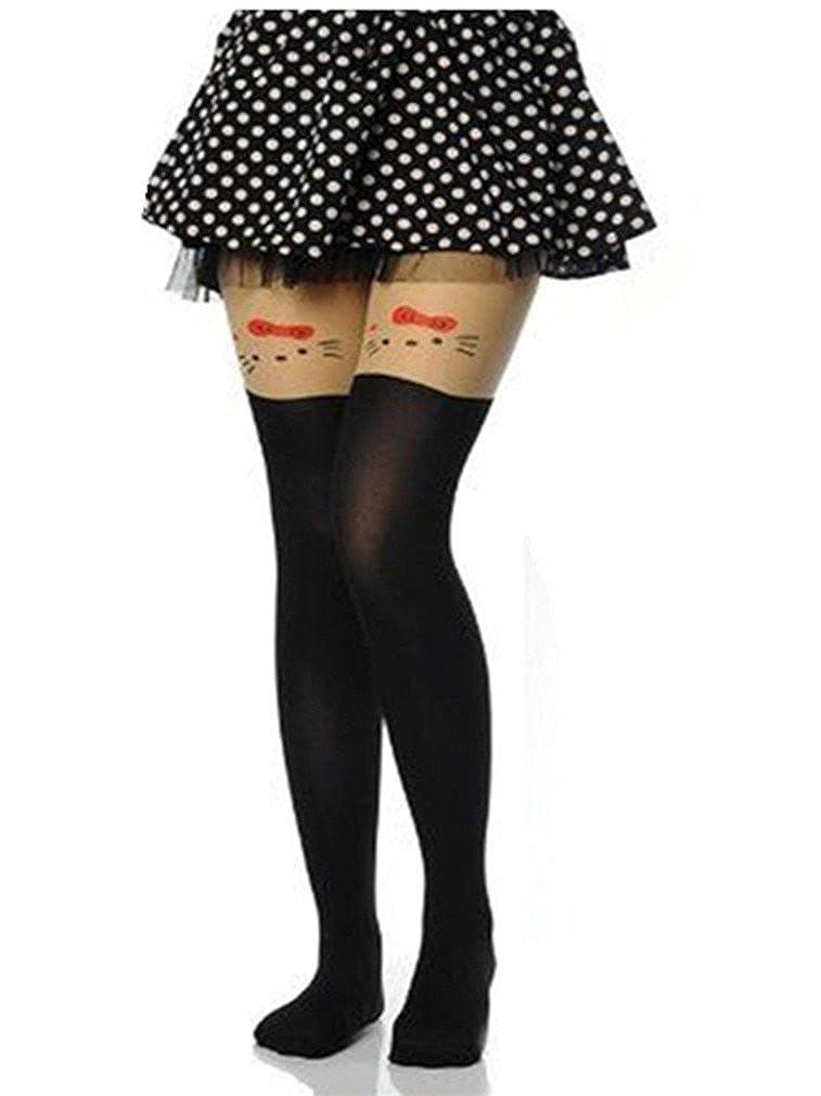 Reina a la Mode- alto de longitud tatuaje calcetín de gatito ...