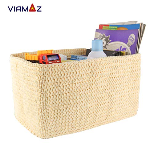 VIAMAZ Basket Storage - Multi-Purpose Storage Bin for Diapers, Toy, Office, Coffee Shop - Organizer Basket Rectangular, Office Box, Baby Storage Hand Knit by Vietnamese Artisan - Foldable, Washable from Viamaz