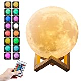 LEEKA 3D Printed Moon Lamp Night Light with Stand, LED 16 Colors, Touch and Remote Control. USB Rechargeable Lights Night Lamps for Bedrooms Creative Gift (8cm(3.1'') 16 Colors Remote Control)