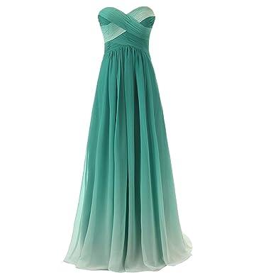 4f1312fe24 Gradient Chiffon Long Backless Beaded Criss Cross A Line Prom Evening  Dresses US 2
