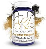 Lions Mane Mushroom Capsules | 8:1 Whole Fruiting Body Extract | 500mg | 180 Count | Hericium erinaceus