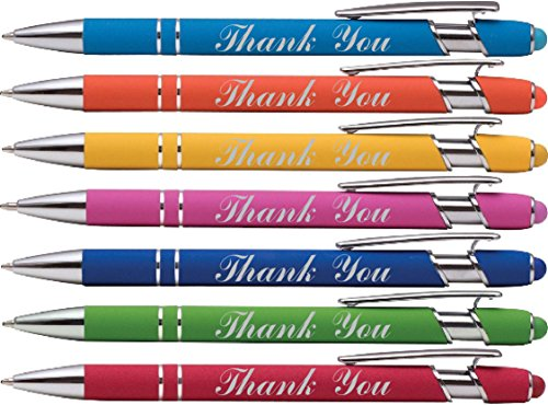 Thank You wording imprinted Gift Pen on our Rainbow Rubberized Soft Touch Ballpoint Pen with Stylus Tip is a stylish, premium metal pen, black ink, medium point. Box of 7 (Assorted Colors)