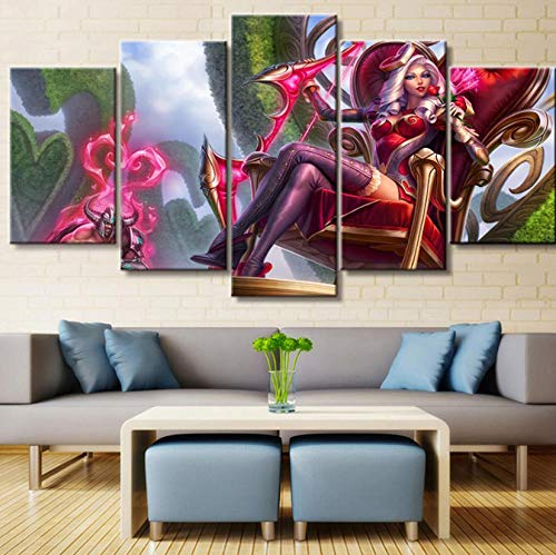 sansiwu k Hd Modular Printed Pictures Home Decor 5 Pieces League of Legends Ashe Game Paintings Office Canvas Poster Wall Art