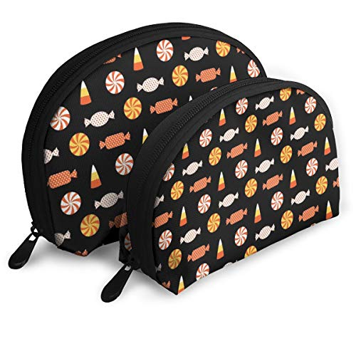 Taslilye Halloween Candy Vector Image Travel Storage Bag Shell Shape Large One for Ladies Cosmetics Storage -