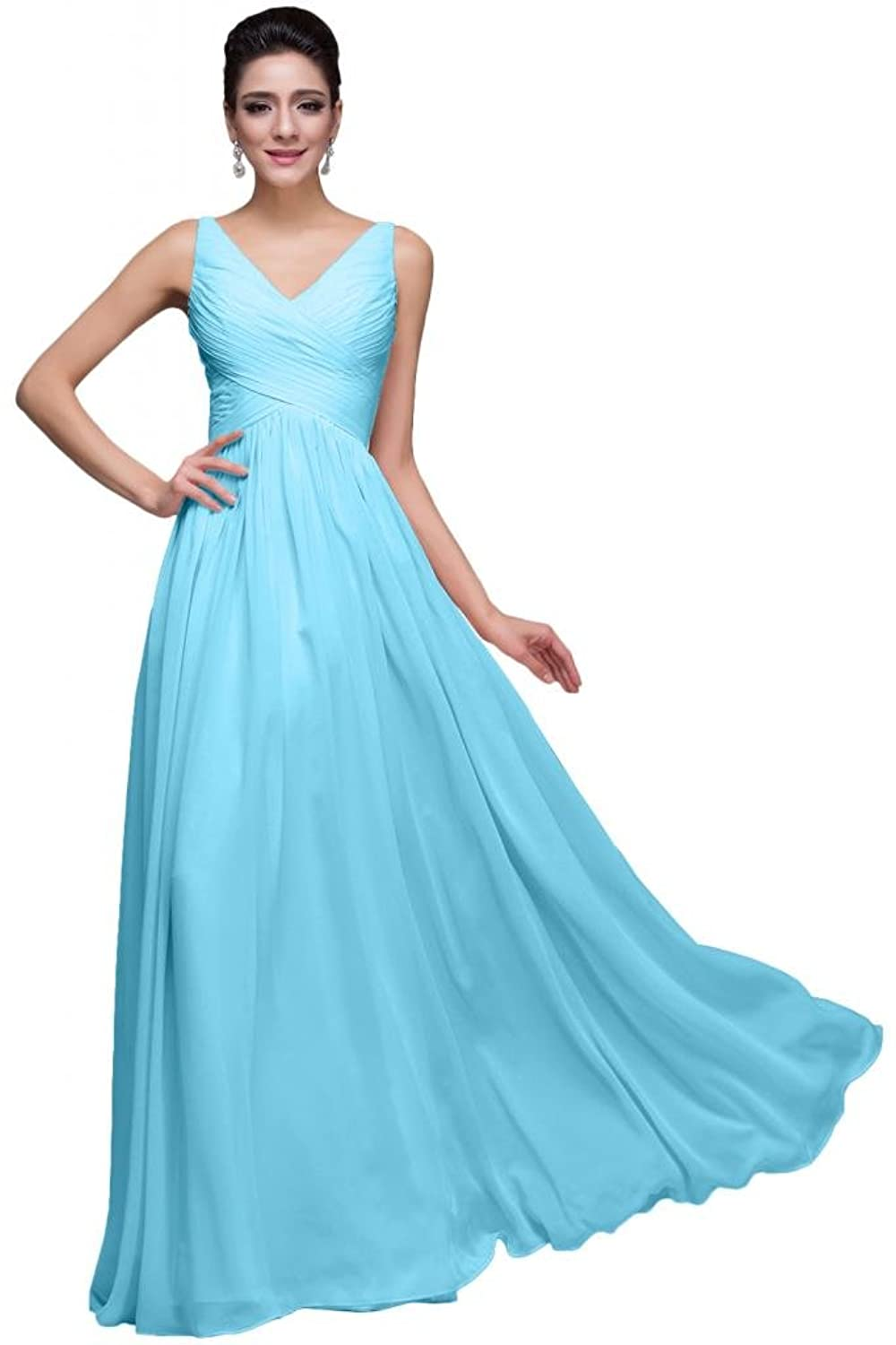 Sunvary Romantic Ruffled Chiffon Spaghetti Strap Bridesmaid Prom Dresses