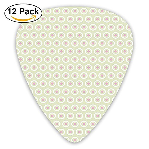 Newfood Ss Circles With Polka Dots On Pale Green Background Soft Tile Pattern Guitar Picks 12/Pack Set