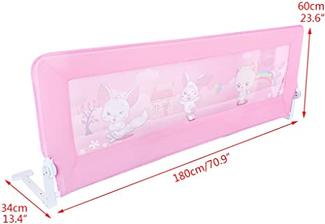 180x64cm KingSaid Folding Baby Child Toddler Bed Rail Safety Protection Guard Pink