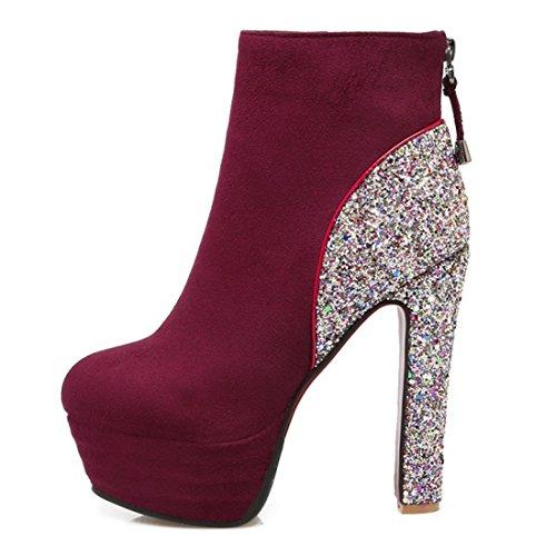 Absatz Schuhe Glitzer Blockabsatz Rot Stiefeletten Ankle Ye Damen