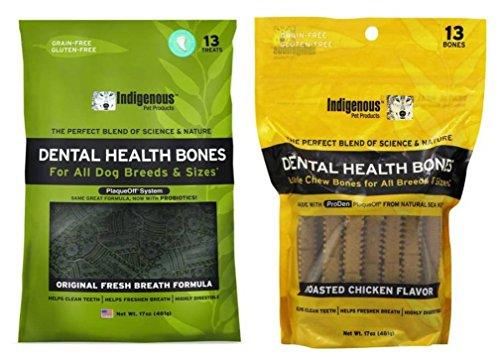 Indigenous Grain Free Dental Health Bones 2 Flavor Variety Bundle: (1) Original Fresh Breath Formula, and (1) Roasted Chicken Flavor, 17 Oz. Ea.