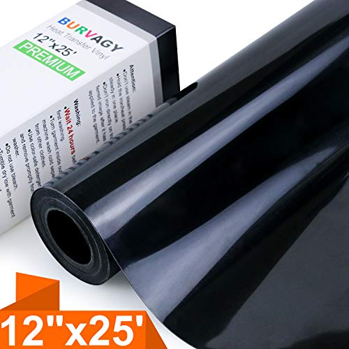 BURVAGY Heat Transfer Vinyl HTV for T-Shirts 12 Inches by 25 Feet Roll (Black)
