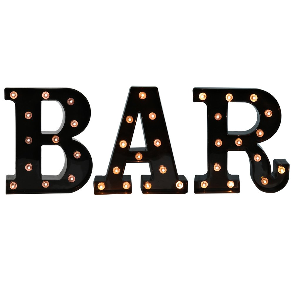BAR - Illuminated Marquee Bar Sign - Lighted LED Marquee Word Sign - Pre-Lit Pub Bar Sign Light Battery Operated (23.03-in x 8.66-in) (Black BAR) by Pooqla