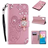 Amocase Wallet Case with 2 in 1 Stylus for Samsung Galaxy Note 10 Plus 5G/Note 10 +,3D Bling Gems Owl Magnetic Mandala Embossing Premium Strap PU Leather Card Slot Stand Case for Samsung Galaxy Note 10 Plus 5G/Note 10 + - Rose Gold