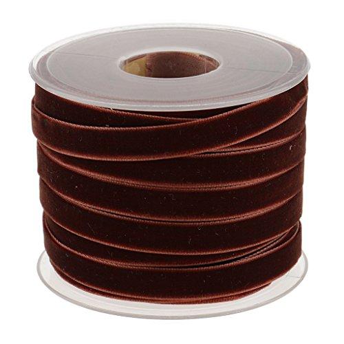 MonkeyJack 20 Yard 10mm Wide Velvet Ribbon Roll for Crafts Embellishments - Coffee
