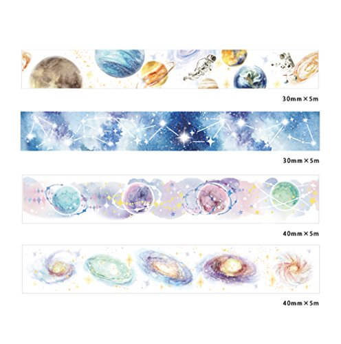 Universe Galaxy Planet Stars Special Printing Ink Washi Tape Set of 4 Rolls – Planner Decorative DIY Japanese Masking Adhesive Sticky Paper Washi Tape Set