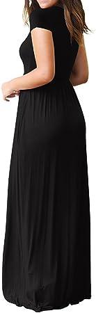 Tosonse Vestidos Casuales De Verano Maxi para Mujeres De Manga Corta O Cuello Color Sólido Vestido De La Camiseta Vestidos De Fiesta hasta El Suelo