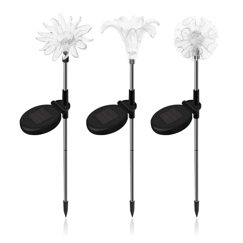 SAPPYWOON Outdoor Solar Flower Garden Lights- 3pcs LED Multi-Color Solar Garden Stake Lights for Garden, Patio, Backyard (Lily,Dandelion,Sunflower)