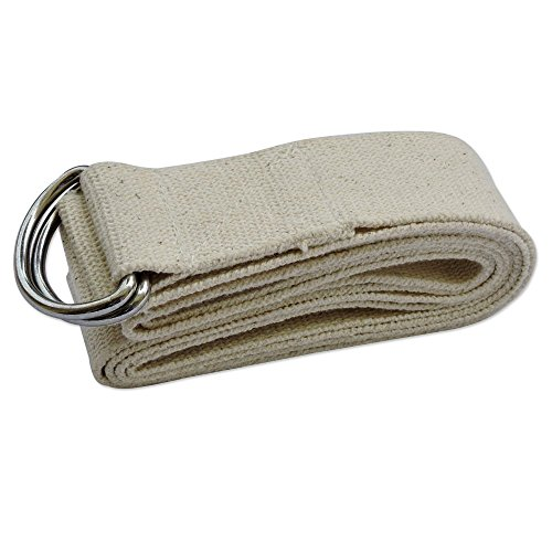 Metal D-ring Cotton Yoga Belt Straps 6 and 8 Foot (Natural, 8 Foot)
