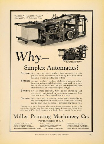 1930 Ad Miller Printing Machinery Co. Automatic Press - Original Print Ad (Wall Atic)