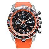 Quaanti Mens Outdoor Sport Watch Stainless Steel Luxury Sport Analog Quartz Modern Men Fashion Wrist Watch Brand Watches (Orange)