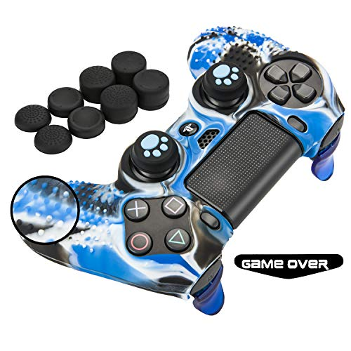 PS4 Controller Skin Grip Anti-Slip Silicone Cover Protector Case for PS4 Controller(Controller Skin x 1 + FPS PRO Thumb Grips x 10 + Trigger Button x 2) (Camouflage Blue)
