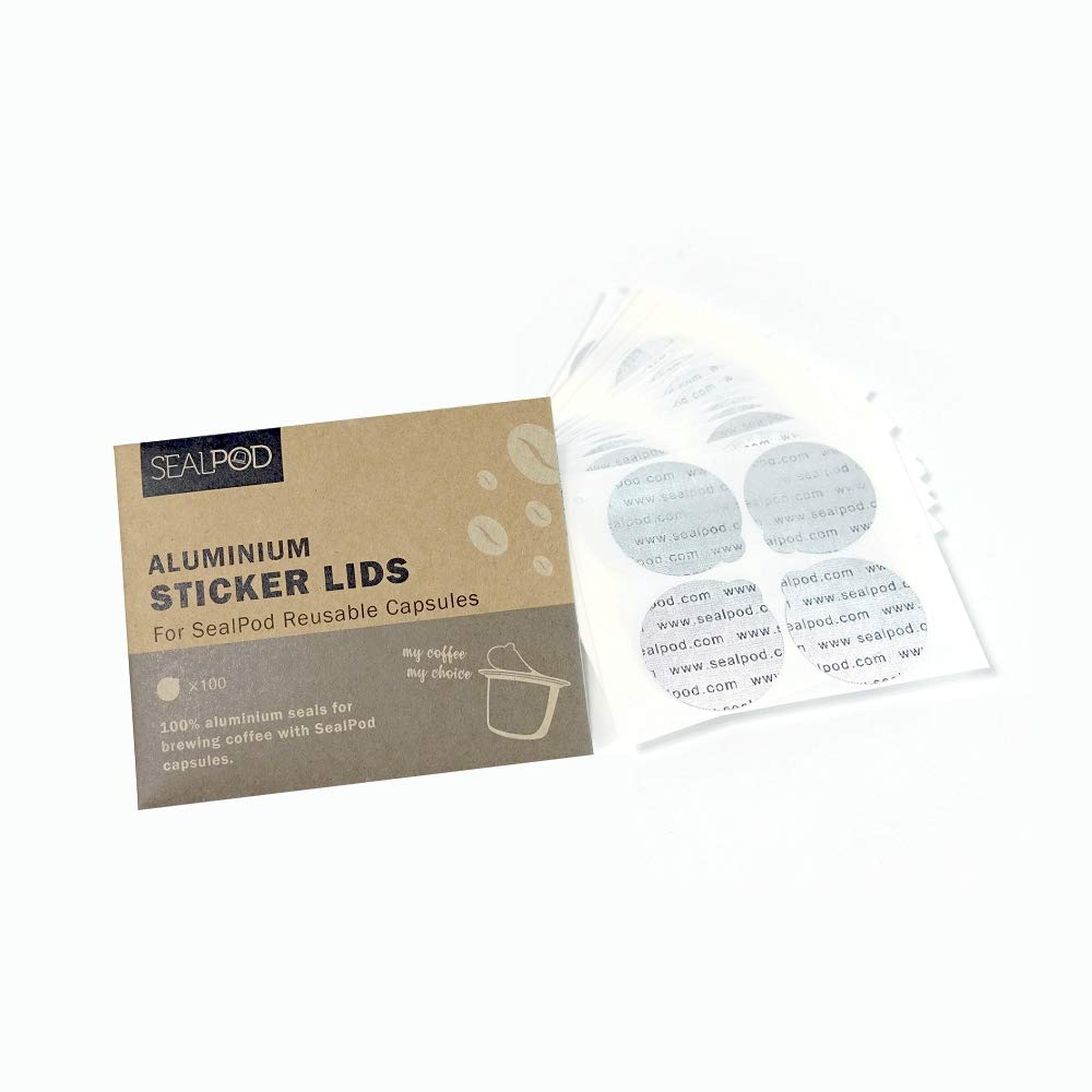 100, EcoPack New Foil Seals: Fill Your Own Capsules with Our Sticker Lids Sealpod Espresso Lids for Nespresso Reusable Capsules 100//package