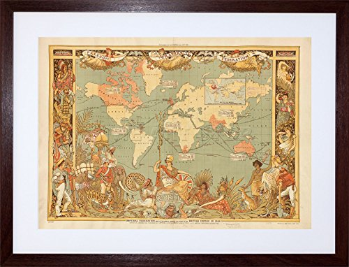 MAP BRITISH EMPIRE 1886 IMPERIAL ILLUSTRATED FRAME ART PRINT PICTURE (1886 Colour Map)