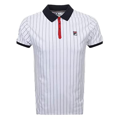 b07c876599 Fila Vintage Pinstripe Polo Shirt White: Amazon.co.uk: Clothing