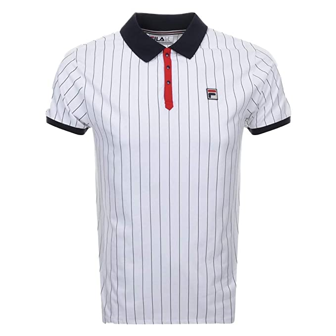 Fila Vintage BB1 Classic Stripe Polo Shirt | White/Peacoat/Red