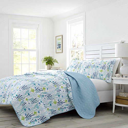 (Laura Ashley Seaweed Fish Quilt Set Full/Queen Pastel Blue)