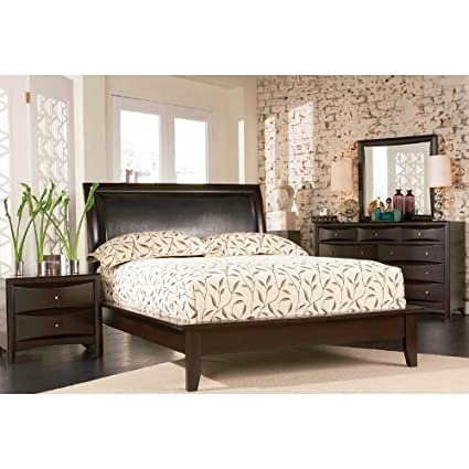 Amazon.com: 4pc King Size Platform Bedroom Set in Cappuccino Finish ...