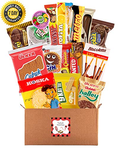(Premium International Snacks Variety Pack Care Package, Ultimate Assortment of Turkish Treats, Mix variety pack of chips, crackers, candy, Best for College Students, Military, Office Home (20 Counts))
