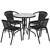 "Flash Furniture 28"" Round Glass Metal Table with Black Rattan Edging and 4 Black Rattan Stack Chairs For Sale"