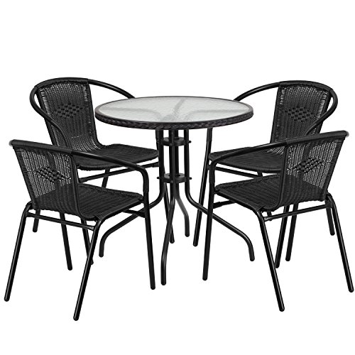 Flash Furniture 28'' Round Glass Metal Table with Black Rattan Edging and 4 Black Rattan Stack Chairs (Table Chairs Glass Round Black 4 And)