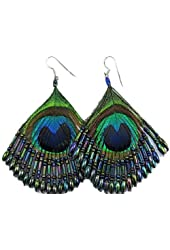 Bead Nature Peacock Feather Earrings