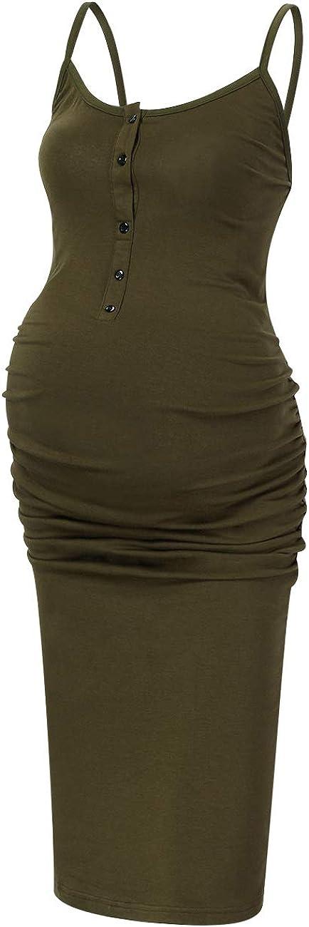 Coolmee Womens Casual Maternity Dress Spaghetti Strap Ruching Nursing Breastfeeding Bodycon Dress with Button