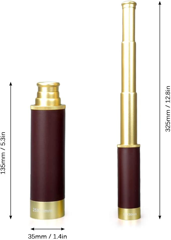Walmeck 25x30 Pocket Zoomable Monocular Pirate Telescope Portable Collapsible Handheld Vintage Monocular Telescope