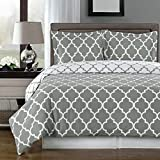 Egyptian Bedding Super Luxurious 100% Egyptian Cotton 3 Piece Meridian Gray QUEEN Size Duvet Cover Set with Pillow Shams