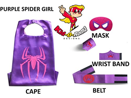 Halloween Costumes For Little Girls Toddlers Birthday Partys 5pc set-Kid-O-Roma (Pruple Spider Girl)
